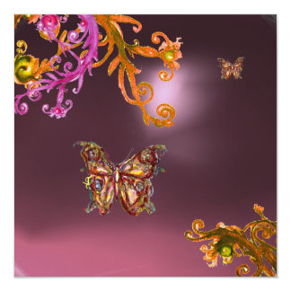 BUTTERFLY AMETHYST,purple bright pink yellow brown Custom Invites