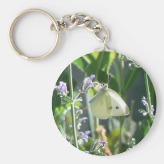 Butterfly Among Cat Mint Basic Round Button Keychain