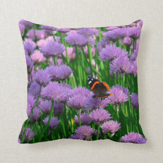 BUTTERFLY AMONG PURPLE FLOWERS THROW PILLOW