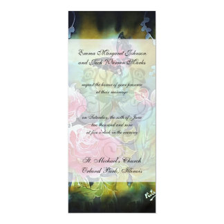 """butterfly among the roses 4"""" x 9.25"""" invitation card"""