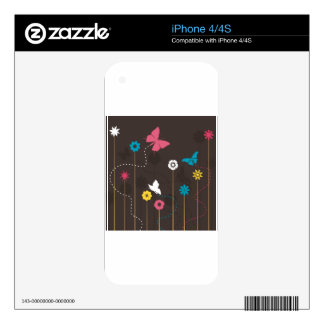 Butterfly and a flower3 iPhone 4 skins