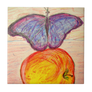 Butterfly and Apple Tile