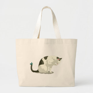 Butterfly and Bathing Cat Large Tote Bag