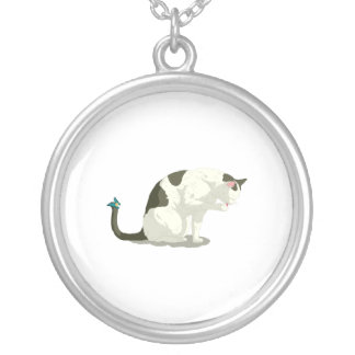 Butterfly and Bathing Cat Round Pendant Necklace
