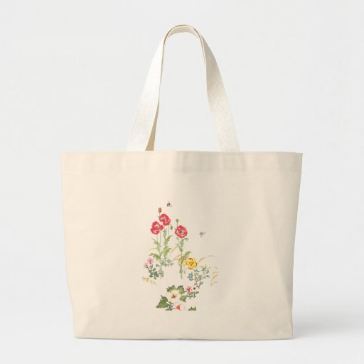 Butterfly and Bee in the Poppy Garden Jumbo Tote Bag