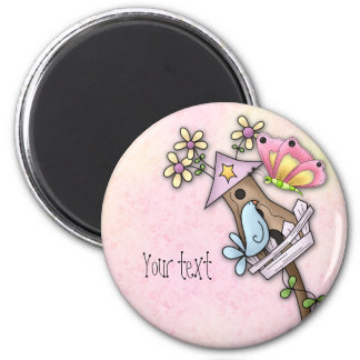Butterfly and bird meeting at the birdhouse 2 inch round magnet