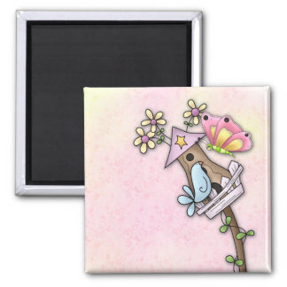 Butterfly and bird meeting at the birdhouse 2 inch square magnet