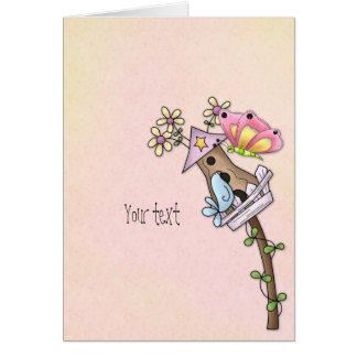 Butterfly and bird meeting at the birdhouse card
