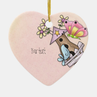 Butterfly and bird meeting at the birdhouse ceramic ornament