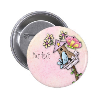 Butterfly and bird meeting at the birdhouse pinback button