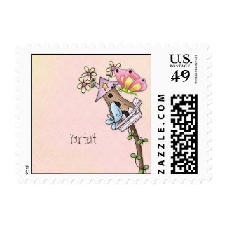 Butterfly and bird meeting at the birdhouse postage stamp