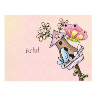 Butterfly and bird meeting at the birdhouse postcard