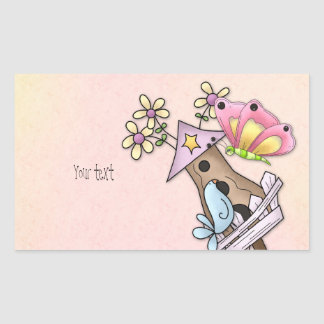 Butterfly and bird meeting at the birdhouse rectangular sticker