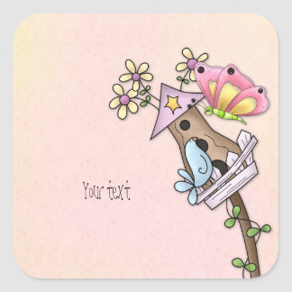 Butterfly and bird meeting at the birdhouse square sticker