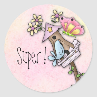 Butterfly and bird meeting at the birdhouse classic round sticker