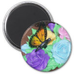 butterfly and buttercream roses magnet