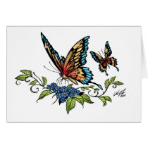 butterfly, butterflies, flowers, al rio, nature, animals, Card with custom graphic design