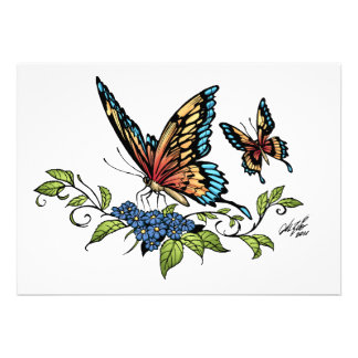 Butterfly and Butterflies full color by Al Rio Personalized Invitation