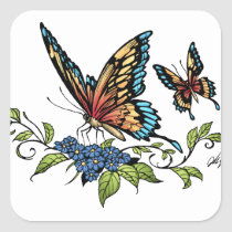 butterfly, butterflies, flowers, al rio, nature, animals, Sticker with custom graphic design