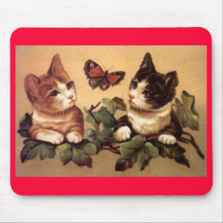 butterfly and cats mouse pad