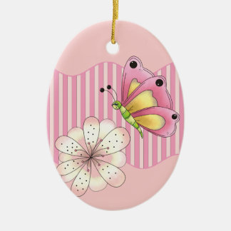 Butterfly and Cherry Blossom Double-Sided Oval Ceramic Christmas Ornament