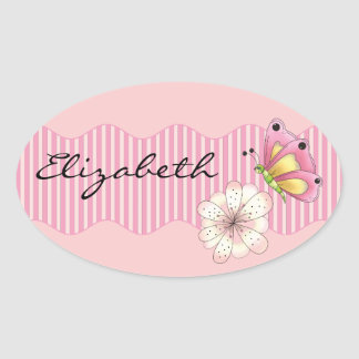 Butterfly and Cherry Blossom Oval Sticker