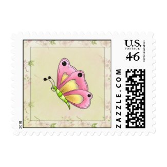 Butterfly And Cherry Blossoms stamp