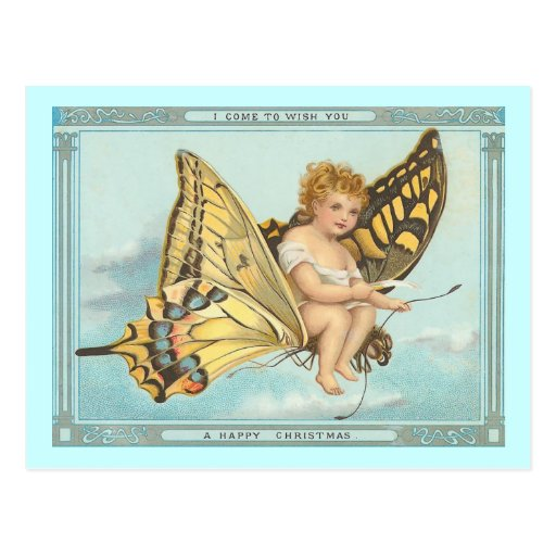 """Butterfly and Cherub"" Vintage Christmas Postcard"