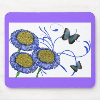 Butterfly and Daisies Mouse Pads