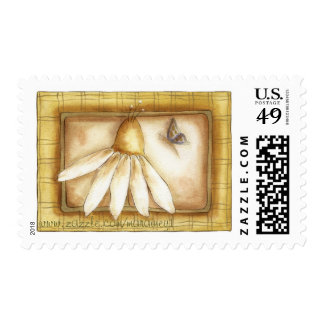 Butterfly and Daisy - Postage Stamp
