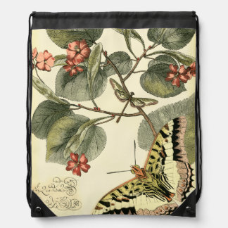 Butterfly and Dragonfly with Red Flowers Cinch Bag