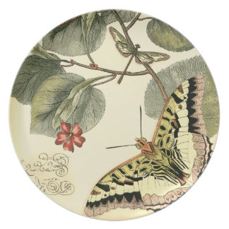 Butterfly and Dragonfly with Red Flowers Dinner Plate