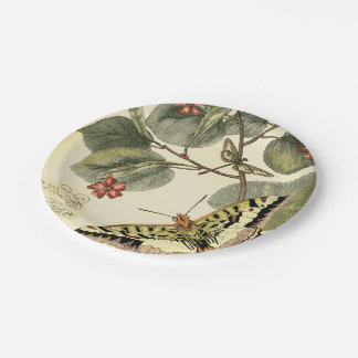 Butterfly and Dragonfly with Red Flowers 7 Inch Paper Plate