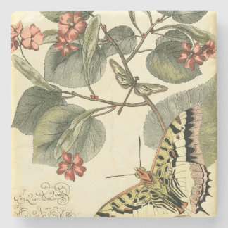 Butterfly and Dragonfly with Red Flowers Stone Coaster