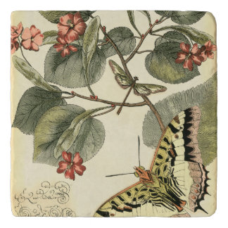 Butterfly and Dragonfly with Red Flowers Trivet