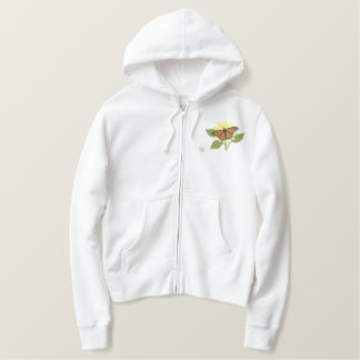 Butterfly and Flower Embroidered Hoodie