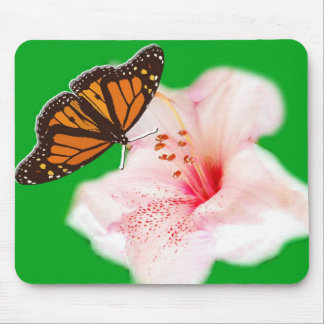Butterfly and Flower Mousepad, pink rhododendron Mouse Pad