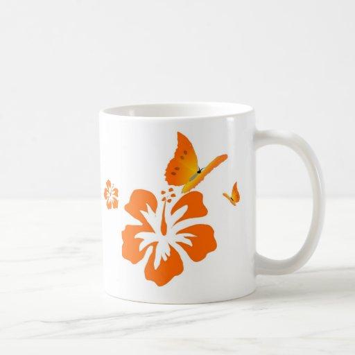 butterfly and flower orange coffee mug