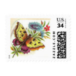 Butterfly and flower vintage stamp