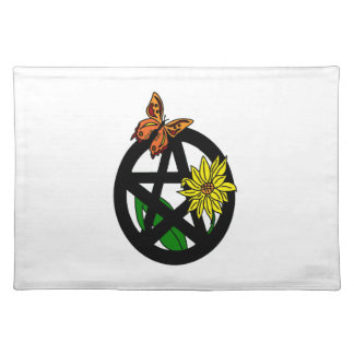 Butterfly And Flower With Pentacle Cloth Placemat