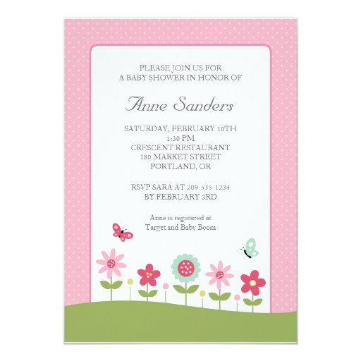 Butterfly and Flowers Baby Shower Invitation