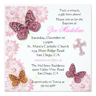 Butterfly and flowers Baptism Invitation