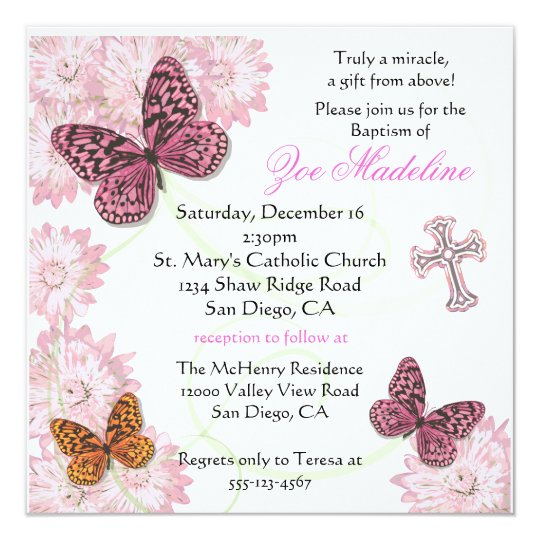 Butterfly and flowers Baptism Invitation Zazzlecom