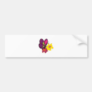 Butterfly And Flowers Bumper Sticker