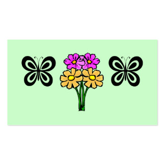 Butterfly and Flowers Double-Sided Standard Business Cards (Pack Of 100)