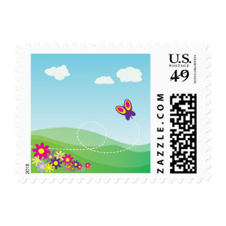 Butterfly and Flowers Cartoon Stamp