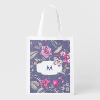 Butterfly and Flowers Custom Monogram Grocery Bag