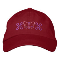 Butterfly And Flowers Embroidered Baseball Hat