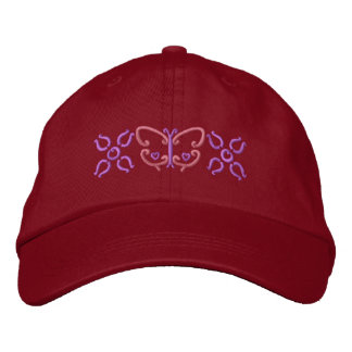 Butterfly And Flowers Embroidered Hat