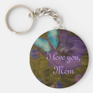 "Butterfly and Flowers ""I Love You, Mom"" Keychain"